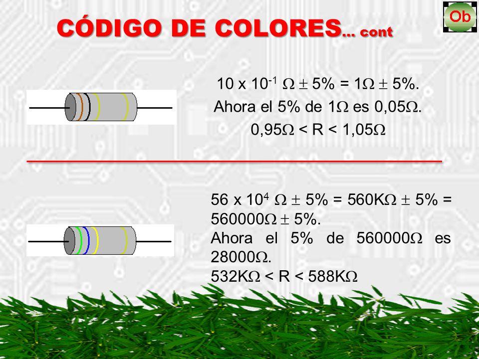 10 x 10 -1 5% = 1 5%. Ahora el 5% de 1 es 0,05. 0,95 < R < 1,05 CÓDIGO DE COLORES … cont 56 x 10 4 5% = 560K 5% = 560000 5%. Ahora el 5% de 560000 es