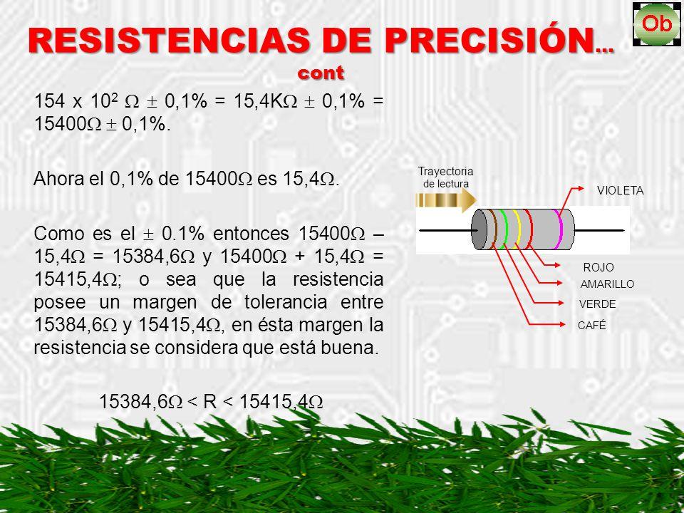 RESISTENCIAS DE PRECISIÓN … cont 154 x 10 2 0,1% = 15,4K 0,1% = 15400 0,1%. Ahora el 0,1% de 15400 es 15,4. Como es el 0.1% entonces 15400 – 15,4 = 15