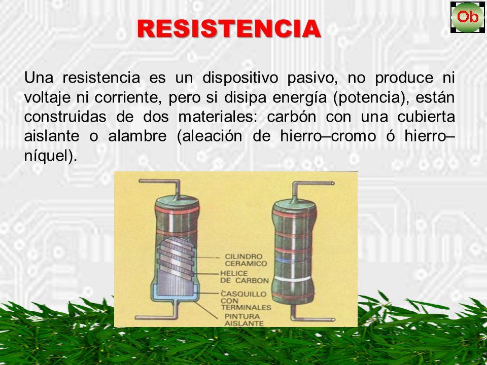 Una resistencia es un dispositivo pasivo, no produce ni voltaje ni corriente, pero si disipa energía (potencia), están construidas de dos materiales: