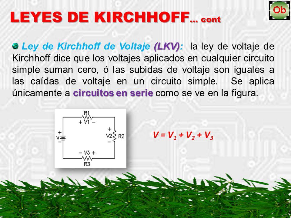 LEYES DE KIRCHHOFF … cont (LKV) circuitos en serie Ley de Kirchhoff de Voltaje (LKV): la ley de voltaje de Kirchhoff dice que los voltajes aplicados en cualquier circuito simple suman cero, ó las subidas de voltaje son iguales a las caídas de voltaje en un circuito simple.