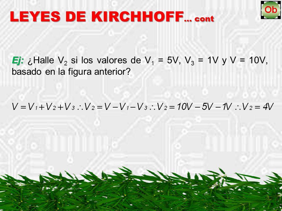 Ej: Ej: ¿Halle V 2 si los valores de V 1 = 5V, V 3 = 1V y V = 10V, basado en la figura anterior? LEYES DE KIRCHHOFF … cont