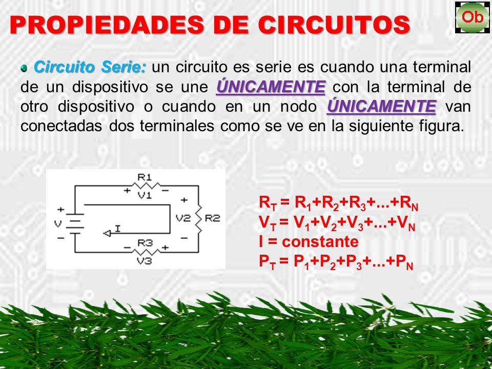 Circuito Serie: ÚNICAMENTE ÚNICAMENTE Circuito Serie: un circuito es serie es cuando una terminal de un dispositivo se une ÚNICAMENTE con la terminal