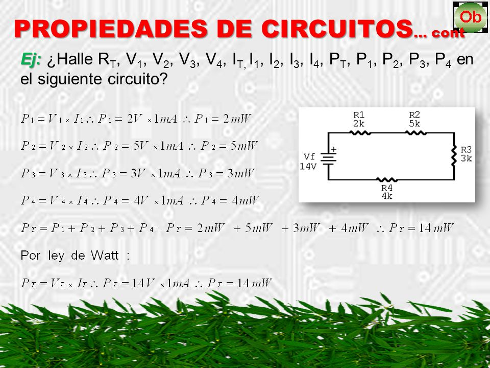 PROPIEDADES DE CIRCUITOS … cont