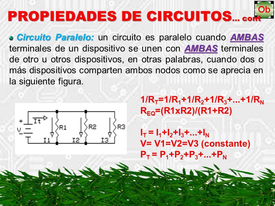 Circuito Paralelo: AMBAS AMBAS Circuito Paralelo: un circuito es paralelo cuando AMBAS terminales de un dispositivo se unen con AMBAS terminales de otro u otros dispositivos, en otras palabras, cuando dos o más dispositivos comparten ambos nodos como se aprecia en la siguiente figura.