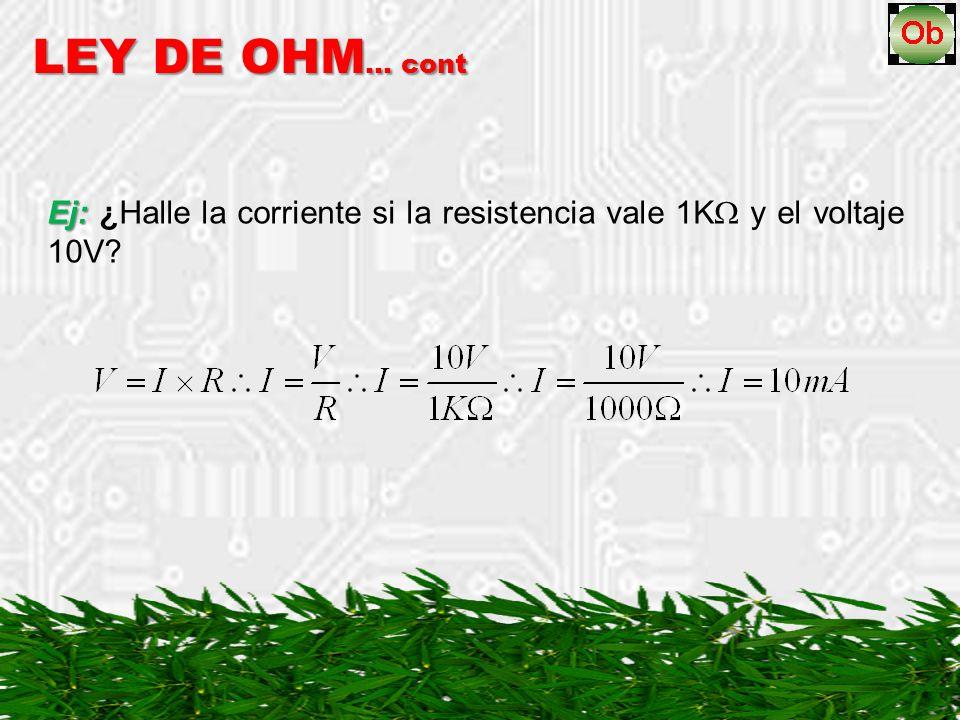 Ej: Ej: ¿Halle la corriente si la resistencia vale 1K y el voltaje 10V? LEY DE OHM … cont