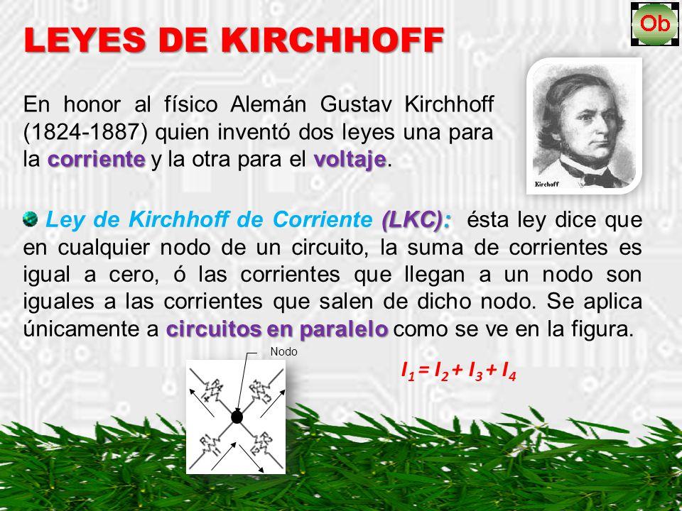 LEYES DE KIRCHHOFF corrientevoltaje En honor al físico Alemán Gustav Kirchhoff (1824-1887) quien inventó dos leyes una para la corriente y la otra para el voltaje.