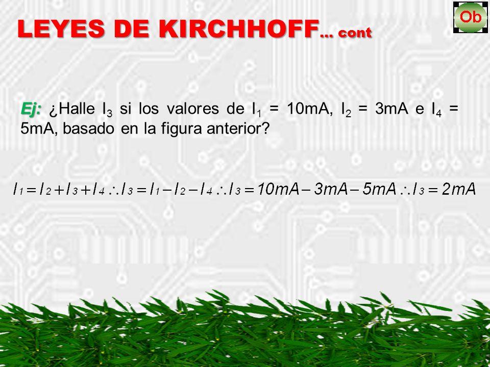 Ej: Ej: ¿Halle I 3 si los valores de I 1 = 10mA, I 2 = 3mA e I 4 = 5mA, basado en la figura anterior? LEYES DE KIRCHHOFF … cont
