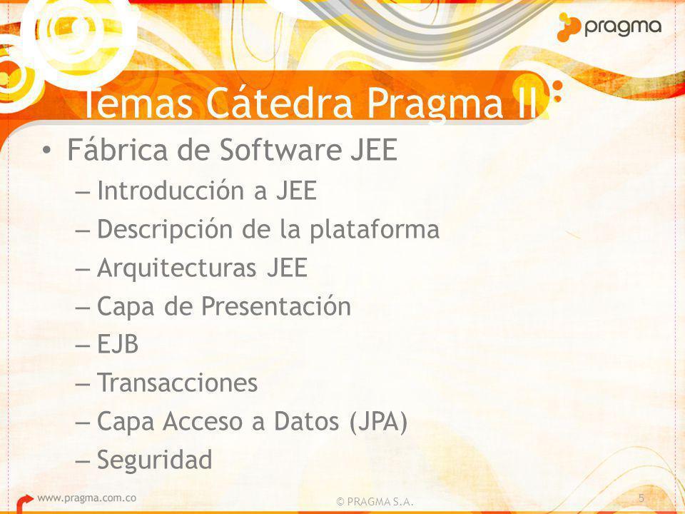 Temas Cátedra Pragma II Fábrica de Software JEE – Introducción a JEE – Descripción de la plataforma – Arquitecturas JEE – Capa de Presentación – EJB – Transacciones – Capa Acceso a Datos (JPA) – Seguridad 5 © PRAGMA S.A.
