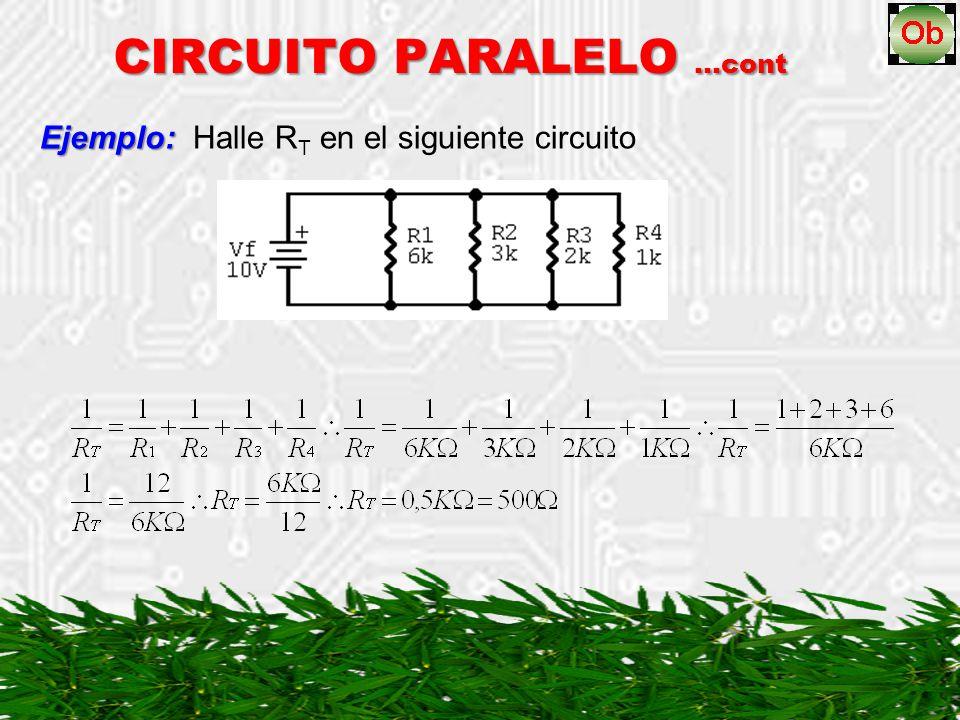 Ejemplo: Ejemplo: Halle R T en el siguiente circuito CIRCUITO PARALELO …cont