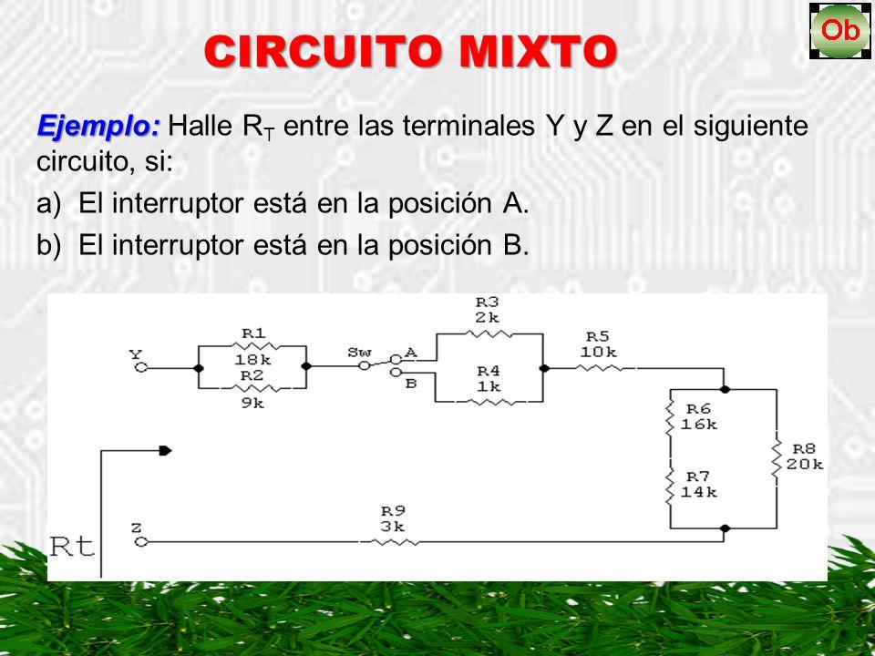 El circuito simplificado queda así: CIRCUITO MIXTO …cont a) El interruptor está en la posición A.