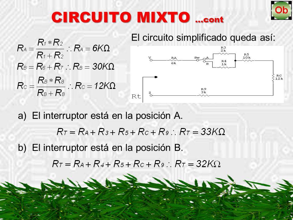 CIRCUITO MIXTO …cont Ejemplo: Ejemplo: Halle R T entre las terminales R y S en el siguiente circuito: El interruptor 1 y 2 (Sw1 y Sw2) están montados sobre un mismo eje y por ello se mueven simultáneamente, o sea, cuando el Sw1 está en la posición A, el Sw2 está en la posición C y cuando Sw1 está en la posición B, el Sw2 está en la posición D; la línea discontinua representa este tipo de interruptor.