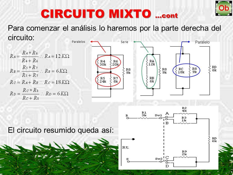 CIRCUITO MIXTO …cont Para comenzar el análisis lo haremos por la parte derecha del circuito: Paralelos Serie Paralelo El circuito resumido queda así: