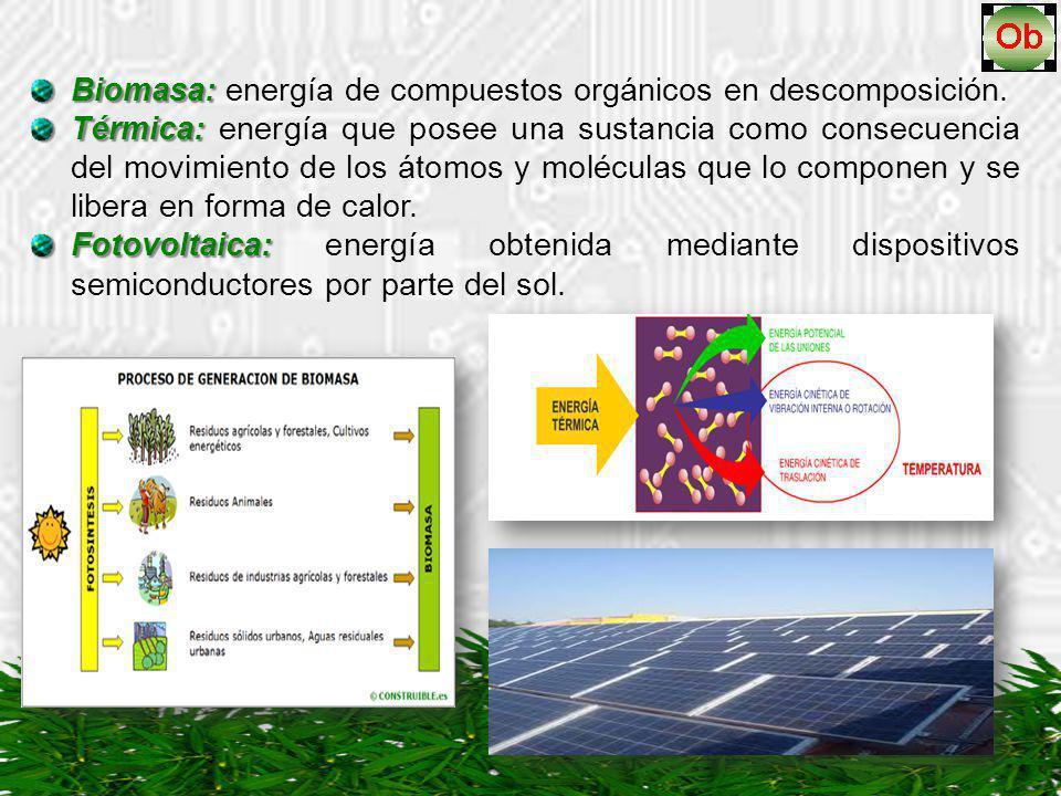Biomasa: Biomasa: energía de compuestos orgánicos en descomposición. Térmica: Térmica: energía que posee una sustancia como consecuencia del movimient