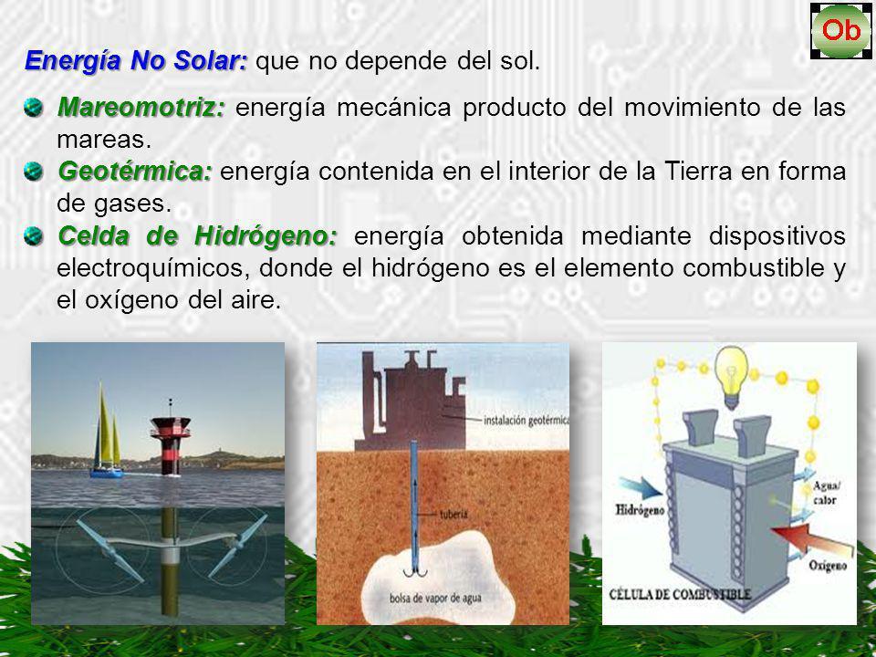 Energía No Solar: Energía No Solar: que no depende del sol. Mareomotriz: Mareomotriz: energía mecánica producto del movimiento de las mareas. Geotérmi