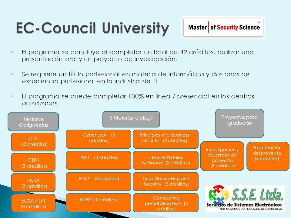 El programa se concluye al completar un total de 42 créditos, realizar una presentación oral y un proyecto de investigación.