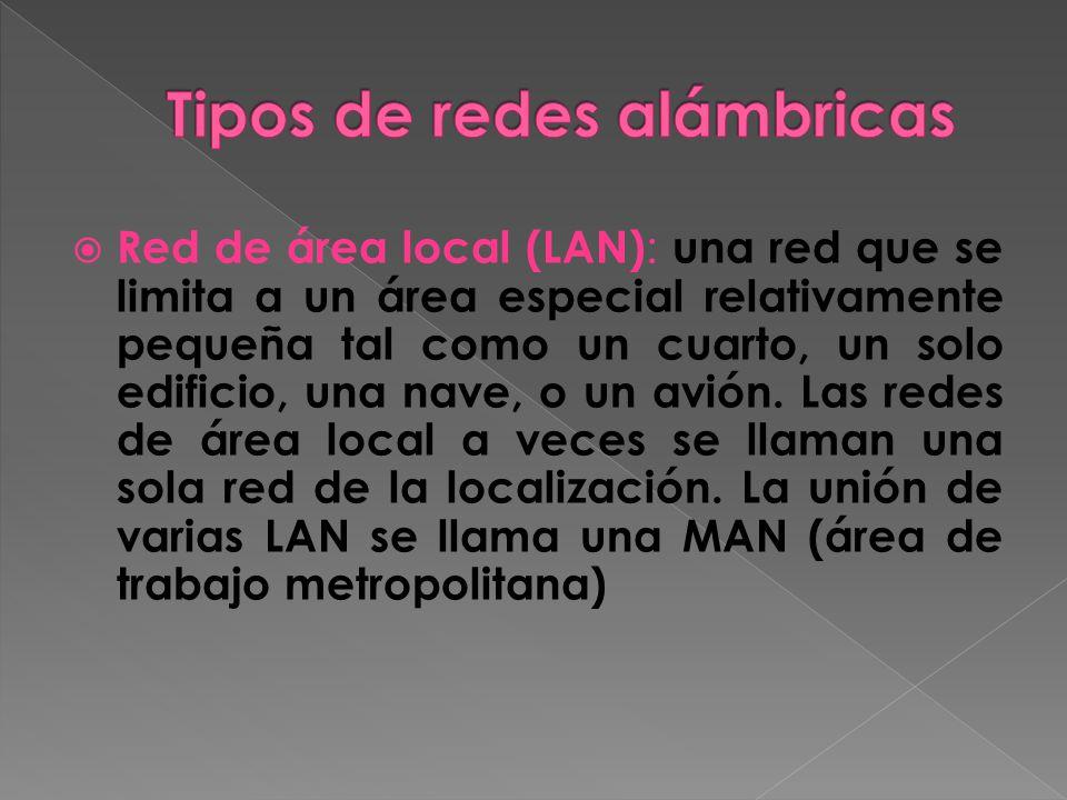 Red de área local (LAN) : una red que se limita a un área especial relativamente pequeña tal como un cuarto, un solo edificio, una nave, o un avión.