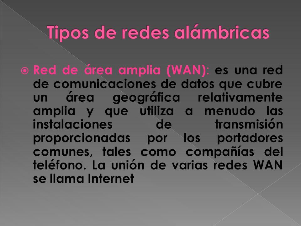 Red de área amplia (WAN) : es una red de comunicaciones de datos que cubre un área geográfica relativamente amplia y que utiliza a menudo las instalaciones de transmisión proporcionadas por los portadores comunes, tales como compañías del teléfono.