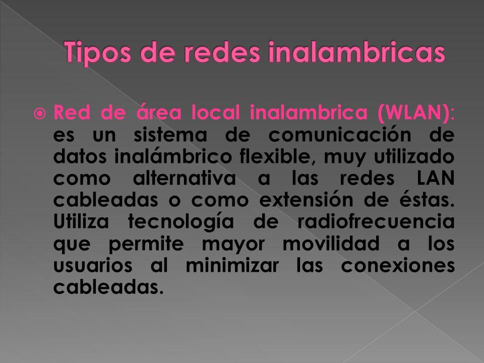 Red de área local inalambrica (WLAN) : es un sistema de comunicación de datos inalámbrico flexible, muy utilizado como alternativa a las redes LAN cableadas o como extensión de éstas.