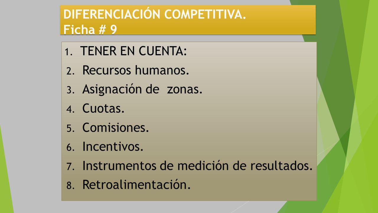 DIFERENCIACIÓN COMPETITIVA.Ficha # 9 1. TENER EN CUENTA: 2.