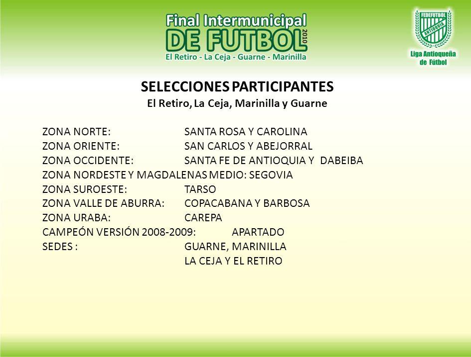 SELECCIONES PARTICIPANTES El Retiro, La Ceja, Marinilla y Guarne ZONA NORTE:SANTA ROSA Y CAROLINA ZONA ORIENTE:SAN CARLOS Y ABEJORRAL ZONA OCCIDENTE:SANTA FE DE ANTIOQUIA Y DABEIBA ZONA NORDESTE Y MAGDALENAS MEDIO: SEGOVIA ZONA SUROESTE:TARSO ZONA VALLE DE ABURRA:COPACABANA Y BARBOSA ZONA URABA:CAREPA CAMPEÓN VERSIÓN 2008-2009:APARTADO SEDES :GUARNE, MARINILLA LA CEJA Y EL RETIRO