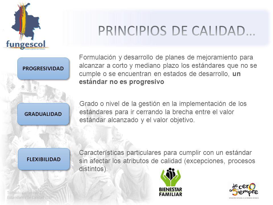 Tomado del anexo 1 Estándares de Calidad ICBF PROGRESIVIDAD GRADUALIDAD FLEXIBILIDAD Formulación y desarrollo de planes de mejoramiento para alcanzar