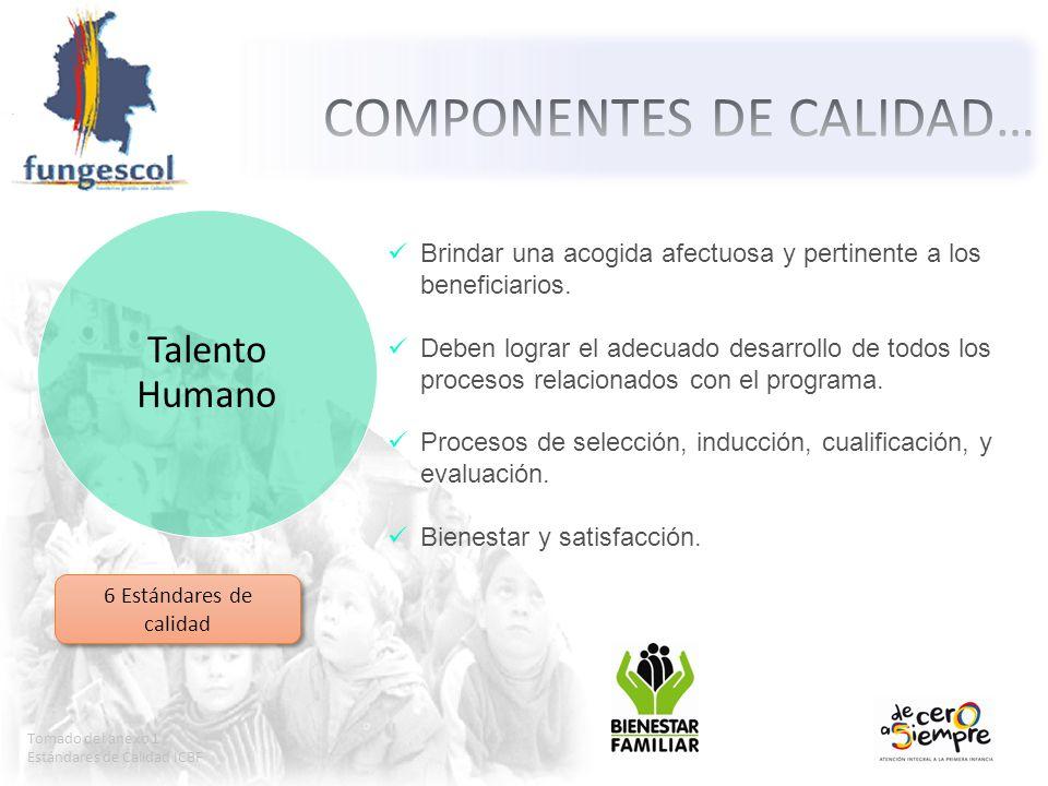 Tomado del anexo 1 Estándares de Calidad ICBF Talento Humano Brindar una acogida afectuosa y pertinente a los beneficiarios. Deben lograr el adecuado