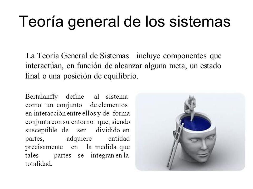 Teoría general de los sistemas La Teoría General de Sistemas incluye componentes que interactúan, en función de alcanzar alguna meta, un estado final