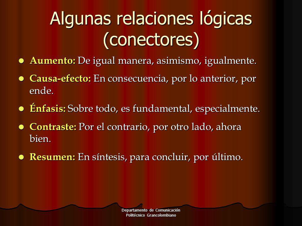Algunas relaciones lógicas (conectores) Aumento: De igual manera, asimismo, igualmente. Aumento: De igual manera, asimismo, igualmente. Causa-efecto: