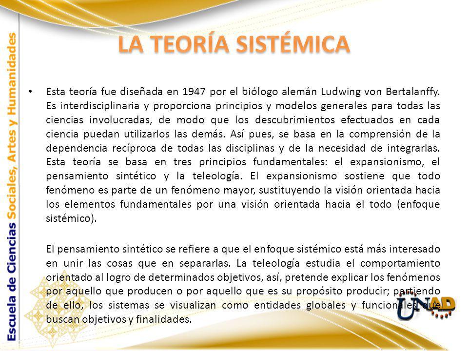 Esta teoría fue diseñada en 1947 por el biólogo alemán Ludwing von Bertalanffy. Es interdisciplinaria y proporciona principios y modelos generales par