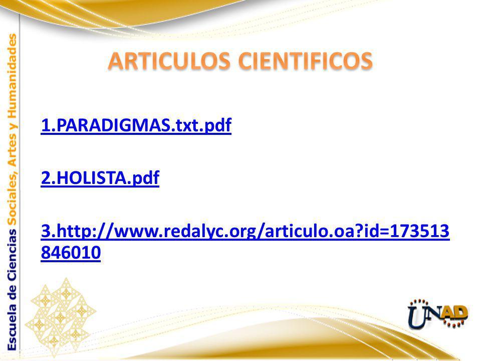 1.PARADIGMAS.txt.pdf 2.HOLISTA.pdf 3.http://www.redalyc.org/articulo.oa?id=173513 846010