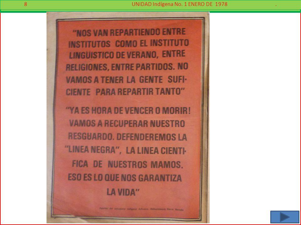 8 - 8 UNIDAD Indígena No. 1 ENERO DE 1978.