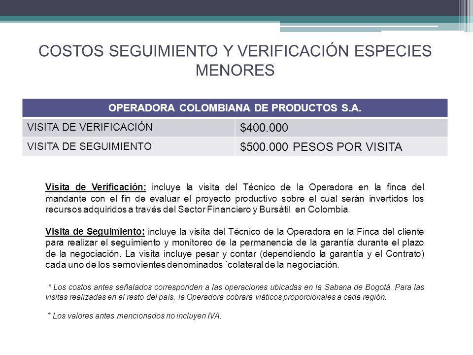 COSTOS SEGUIMIENTO Y VERIFICACIÓN ESPECIES MENORES OPERADORA COLOMBIANA DE PRODUCTOS S.A.