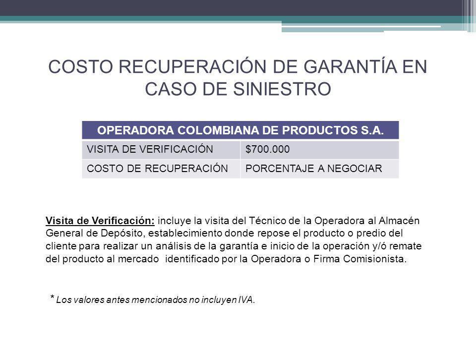 COSTO RECUPERACIÓN DE GARANTÍA EN CASO DE SINIESTRO OPERADORA COLOMBIANA DE PRODUCTOS S.A.