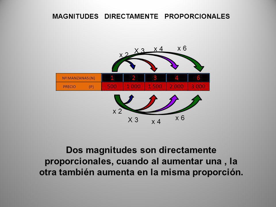 12346 Nº MANZANAS (N) PRECIO (P) 5001 0001 5002 0003 000 MAGNITUDES DIRECTAMENTE PROPORCIONALES Dos magnitudes son directamente proporcionales, cuando al aumentar una, la otra también aumenta en la misma proporción.