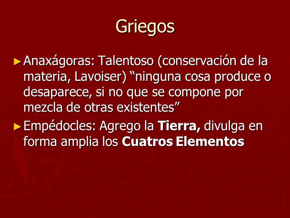 Griegos Anaxágoras: Talentoso (conservación de la materia, Lavoiser) ninguna cosa produce o desaparece, si no que se compone por mezcla de otras exist