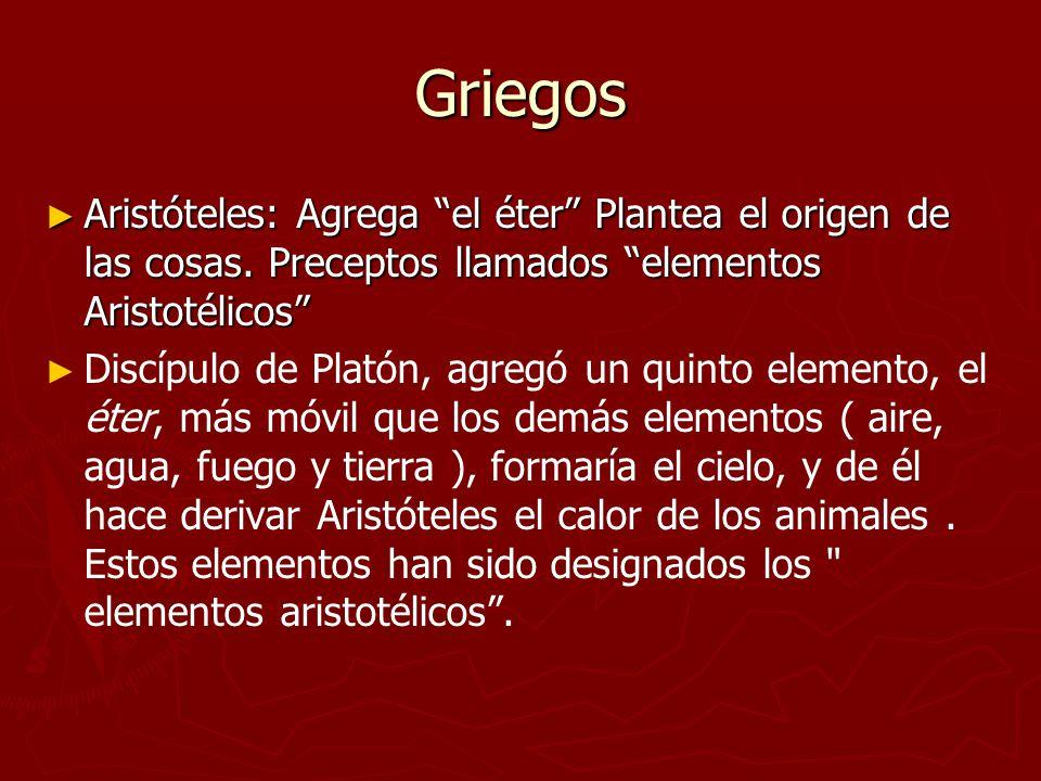 Griegos Aristóteles: Agrega el éter Plantea el origen de las cosas. Preceptos llamados elementos Aristotélicos Aristóteles: Agrega el éter Plantea el