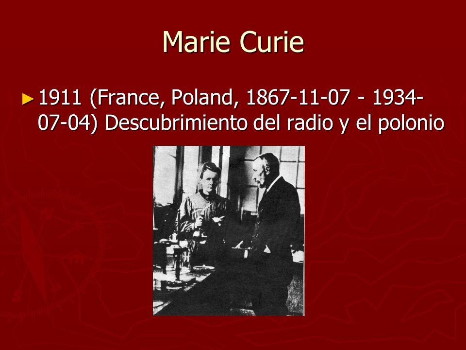 Marie Curie 1911 (France, Poland, 1867-11-07 - 1934- 07-04) Descubrimiento del radio y el polonio 1911 (France, Poland, 1867-11-07 - 1934- 07-04) Desc