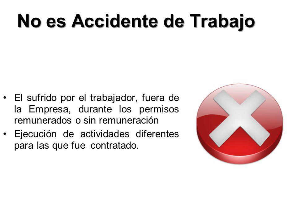 No es Accidente de Trabajo El sufrido por el trabajador, fuera de la Empresa, durante los permisos remunerados o sin remuneración Ejecución de activid