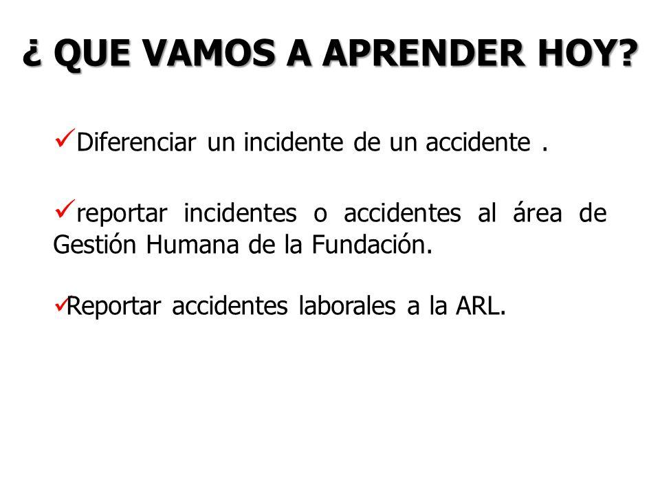 ¿ QUE VAMOS A APRENDER HOY? Diferenciar un incidente de un accidente. reportar incidentes o accidentes al área de Gestión Humana de la Fundación. Repo