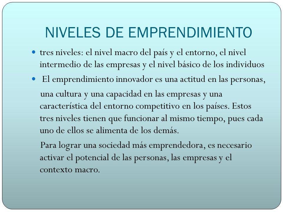 NIVELES DE EMPRENDIMIENTO tres niveles: el nivel macro del país y el entorno, el nivel intermedio de las empresas y el nivel básico de los individuos