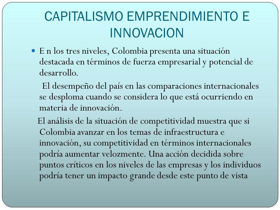 CAPITALISMO EMPRENDIMIENTO E INNOVACION E n los tres niveles, Colombia presenta una situación destacada en términos de fuerza empresarial y potencial de desarrollo.