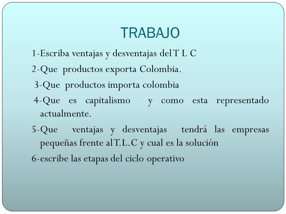 TRABAJO 1-Escriba ventajas y desventajas del T L C 2-Que productos exporta Colombia. 3-Que productos importa colombia 4-Que es capitalismo y como esta