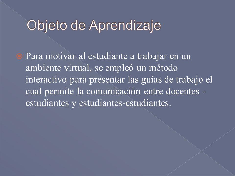 Para motivar al estudiante a trabajar en un ambiente virtual, se empleó un método interactivo para presentar las guías de trabajo el cual permite la c