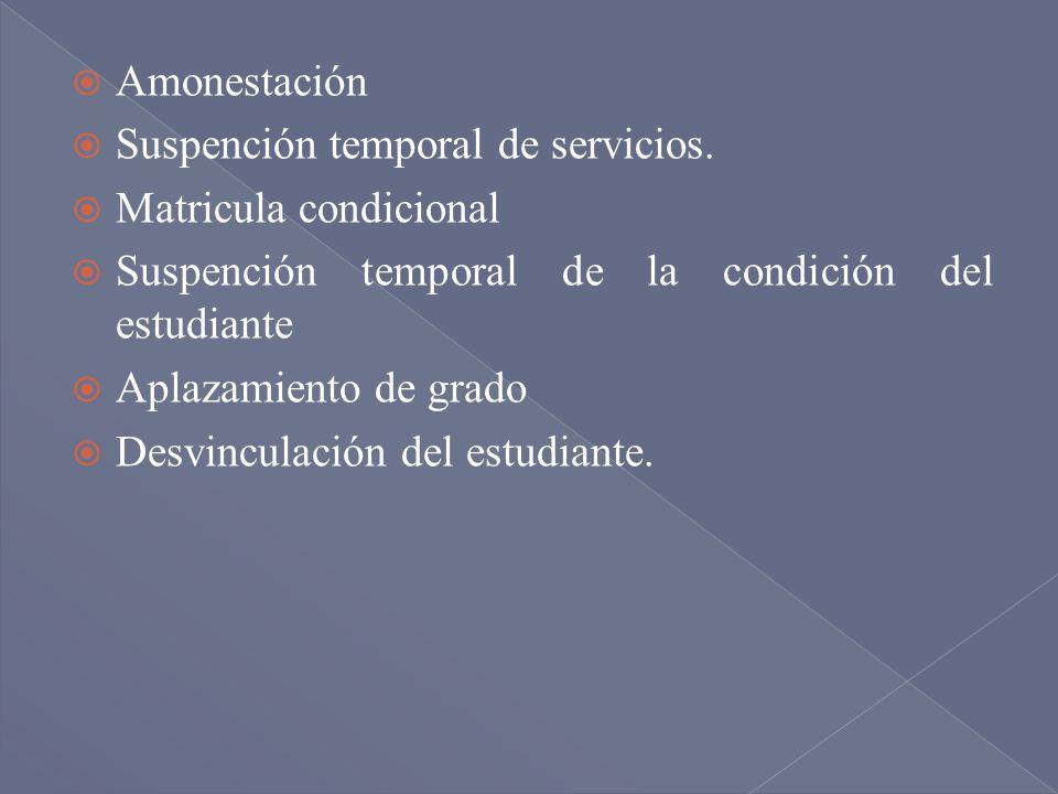 Amonestación Suspención temporal de servicios. Matricula condicional Suspención temporal de la condición del estudiante Aplazamiento de grado Desvincu