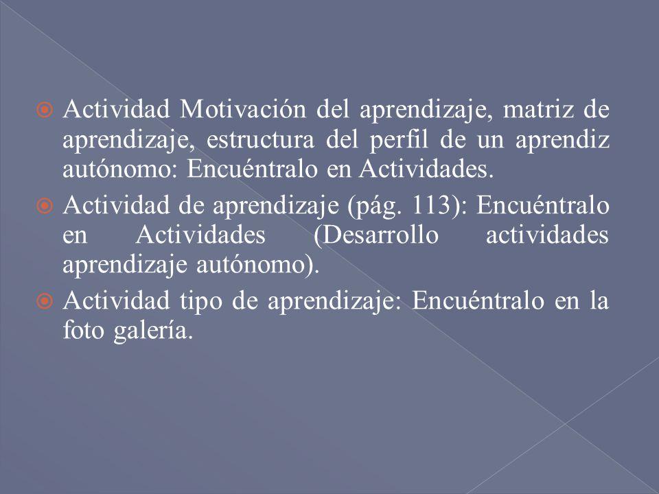 Actividad Motivación del aprendizaje, matriz de aprendizaje, estructura del perfil de un aprendiz autónomo: Encuéntralo en Actividades. Actividad de a