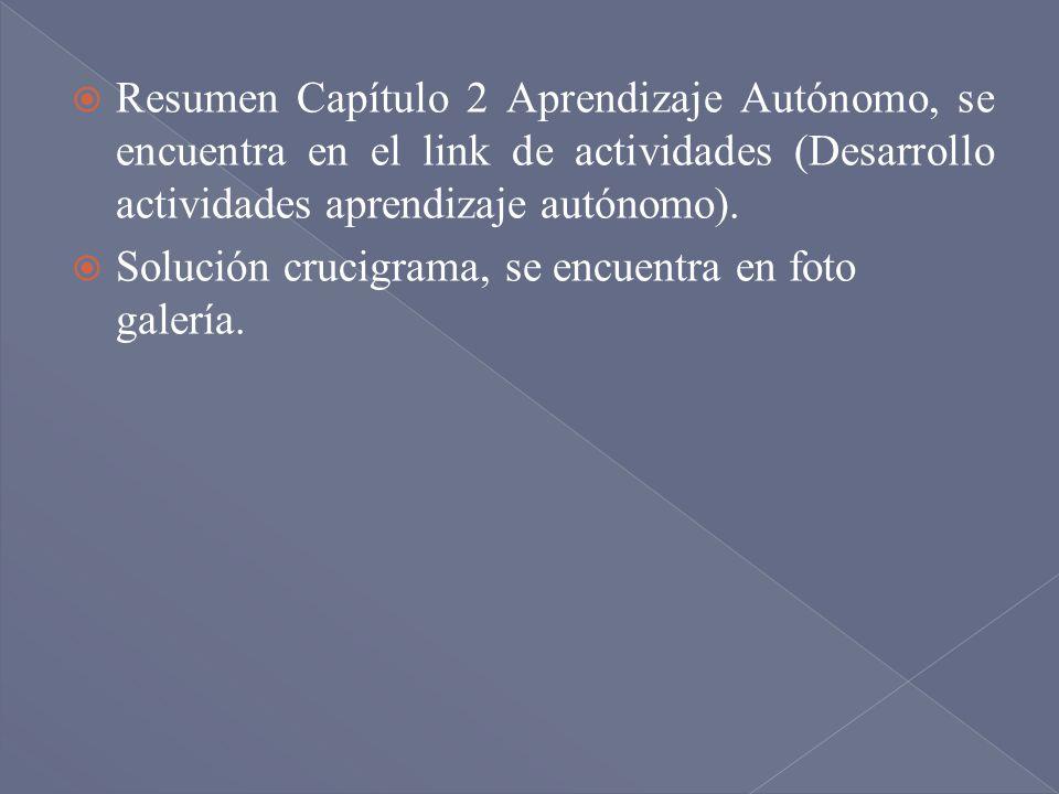 Resumen Capítulo 2 Aprendizaje Autónomo, se encuentra en el link de actividades (Desarrollo actividades aprendizaje autónomo). Solución crucigrama, se