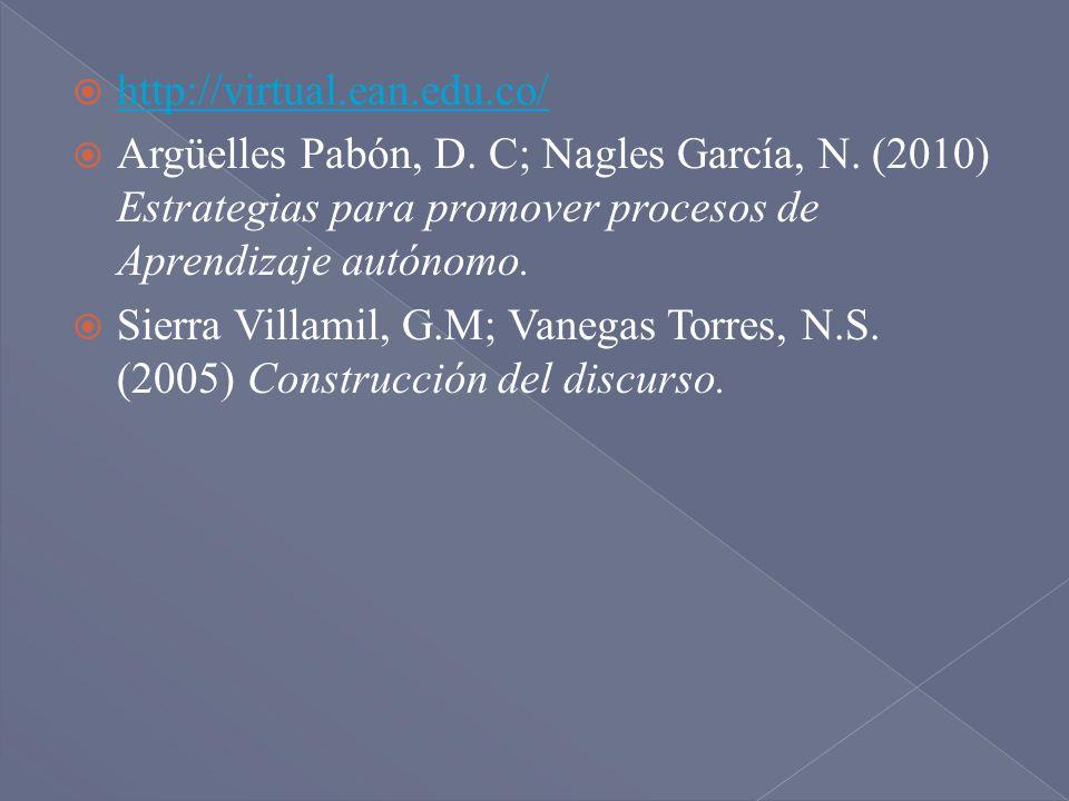 http://virtual.ean.edu.co/ Argüelles Pabón, D. C; Nagles García, N. (2010) Estrategias para promover procesos de Aprendizaje autónomo. Sierra Villamil
