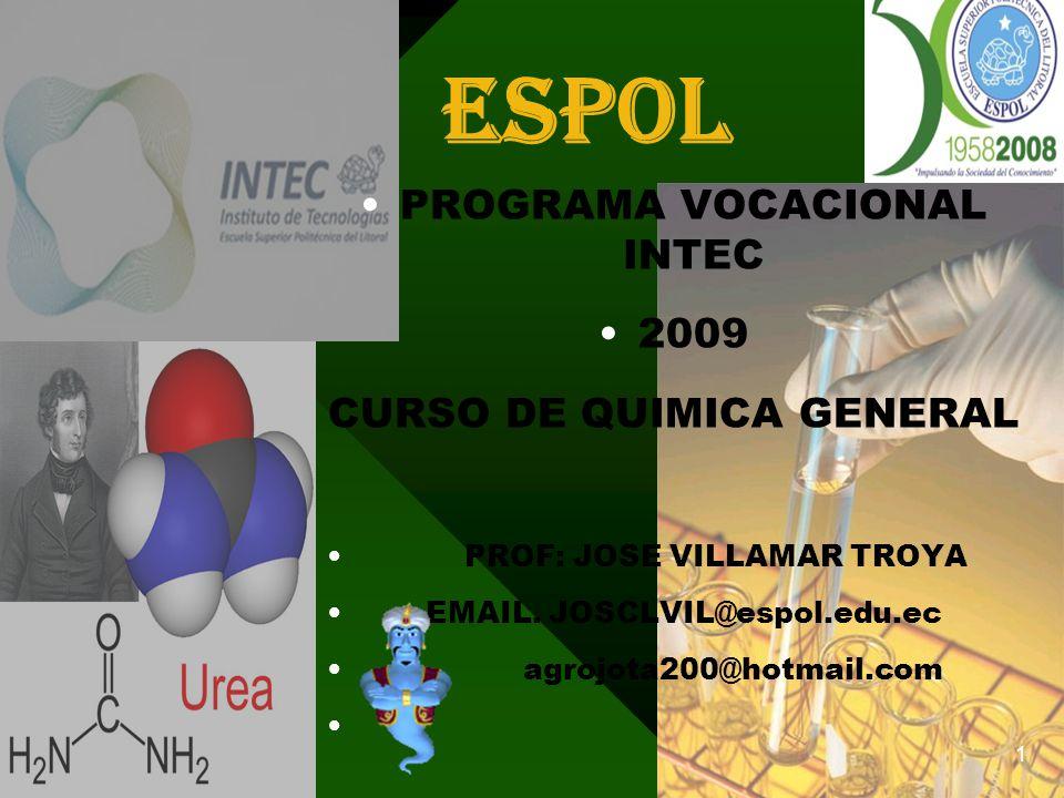 espol PROGRAMA VOCACIONAL INTEC 2009 CURSO DE QUIMICA GENERAL PROF: JOSE VILLAMAR TROYA EMAIL.
