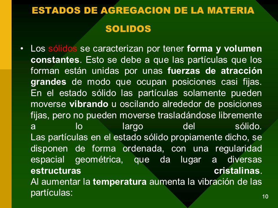Los sólidos se caracterizan por tener forma y volumen constantes.