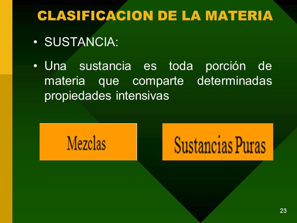SUSTANCIA: Una sustancia es toda porción de materia que comparte determinadas propiedades intensivas CLASIFICACION DE LA MATERIA 23